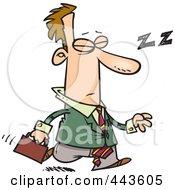 Royalty Free RF Clip Art Illustration Of A Cartoon Tired Businessman Dozing While Walking