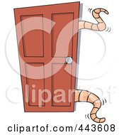 Royalty Free RF Clip Art Illustration Of Cartoon Tentacles Opening A Closet Door by toonaday