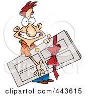 Royalty Free RF Clip Art Illustration Of A Cartoon Man Carrying A Door Prize by toonaday