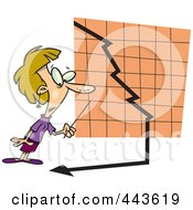Royalty Free RF Clip Art Illustration Of A Cartoon Businesswoman Watching A Down Turn Arrow