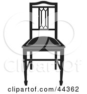 Black And White Gothic Styled Chair Facing Front