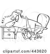 Royalty Free RF Clip Art Illustration Of A Cartoon Black And White Outline Design Of A Tired Businessman Sleeping On His Desk