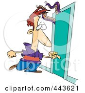Royalty Free RF Clip Art Illustration Of A Cartoon Man Approaching A Door With A Tentacled Monster by toonaday