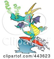 Royalty Free RF Clip Art Illustration Of A Cartoon Surfing Dragon