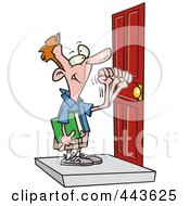 Royalty Free RF Clip Art Illustration Of A Cartoon Boy Knocking On A Door by toonaday