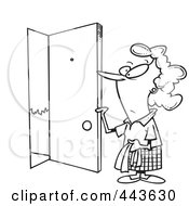 Royalty Free RF Clip Art Illustration Of A Cartoon Black And White Outline Design Of A Woman Opening A Door by toonaday