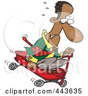 Royalty Free RF Clip Art Illustration Of A Cartoon Black Businessman Riding Downhill In A Wagon