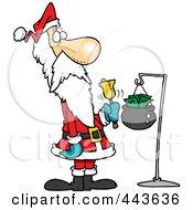 Royalty Free RF Clip Art Illustration Of A Cartoon Santa Ringing A Bell