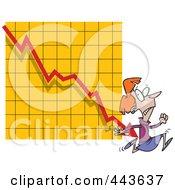 Royalty Free RF Clip Art Illustration Of A Cartoon Businesswoman Running From A Chart Arrow