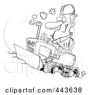 Cartoon Black And White Outline Design Of A Man Operating A Bulldozer