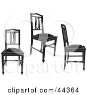 Three Black Silhouetted Antique Chairs