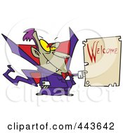 Royalty Free RF Clip Art Illustration Of A Cartoon Vampire Holding A Welcome Sign by toonaday
