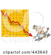 Royalty Free RF Clip Art Illustration Of A Cartoon Businessman Running From A Down Arrow by toonaday