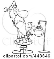 Royalty Free RF Clip Art Illustration Of A Cartoon Black And White Outline Design Of Santa Ringing A Bell