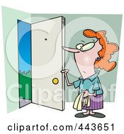 Royalty Free RF Clip Art Illustration Of A Cartoon Woman Opening A Door by toonaday