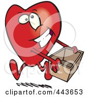 Royalty Free RF Clip Art Illustration Of A Cartoon Heart Carrying A Donations Box by toonaday
