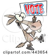 Royalty Free RF Clip Art Illustration Of A Cartoon Donkey Carrying A Vote Sign by toonaday