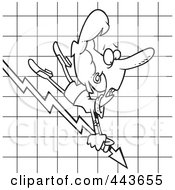 Royalty Free RF Clip Art Illustration Of A Cartoon Black And White Outline Design Of A Businesswoman Riding On A Decline Chart Arrow