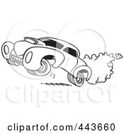 Royalty Free RF Clip Art Illustration Of A Cartoon Black And White Outline Design Of A Dragster