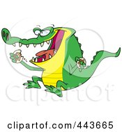 Royalty Free RF Clip Art Illustration Of A Cartoon An Alligator Eating A Donut by toonaday