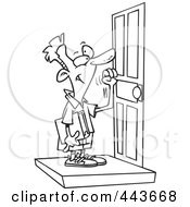 Royalty Free RF Clip Art Illustration Of A Cartoon Black And White Outline Design Of A Boy Knocking On A Door by toonaday