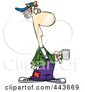 Cartoon Down And Out Man Holding A Cup