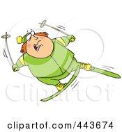 Royalty Free RF Clip Art Illustration Of A Cartoon Fat Man Skiing