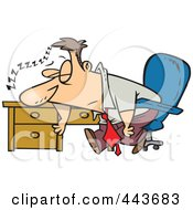 Royalty Free RF Clip Art Illustration Of A Cartoon Tired Businessman Sleeping On His Desk