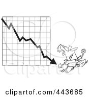Royalty Free RF Clip Art Illustration Of A Cartoon Black And White Outline Design Of A Businessman Running From A Down Arrow
