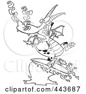 Royalty Free RF Clip Art Illustration Of A Cartoon Black And White Outline Design Of A Surfing Dragon