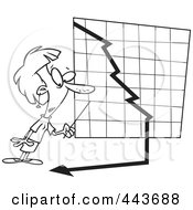 Royalty Free RF Clip Art Illustration Of A Cartoon Black And White Outline Design Of A Businesswoman Watching A Down Turn Arrow