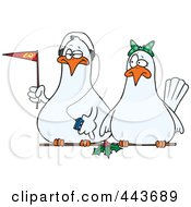 Royalty Free RF Clip Art Illustration Of Cartoon Dove Fans