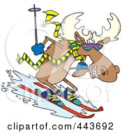 Royalty Free RF Clip Art Illustration Of A Cartoon Moose Skiing Downhill by toonaday