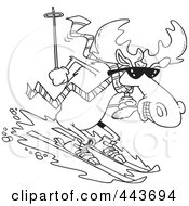 Royalty Free RF Clip Art Illustration Of A Cartoon Black And White Outline Design Of A Moose Skiing Downhill by toonaday