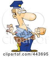 Royalty Free RF Clip Art Illustration Of A Cartoon Police Man Eating A Donut by toonaday