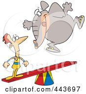 Royalty Free RF Clip Art Illustration Of A Cartoon Elephant Jumping On A See Saw To Make A Stunt Man Fly by toonaday