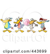 Royalty Free RF Clip Art Illustration Of Cartoon Ducks In A Row by toonaday