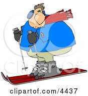 Overweight Man Snow Skiing Down A Winter Ski Slope Covered With Snow