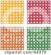 Clipart Illustration Of A Collage Of Yellow Red Orange And Green Wicker Pattern Backgrounds