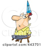 Royalty Free RF Clip Art Illustration Of A Cartoon Man Wearing A Dunce Hat by toonaday
