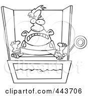 Royalty Free RF Clip Art Illustration Of A Cartoon Black And White Outline Design Of A Man Sitting On A Dunk Tank