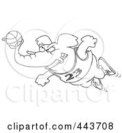 Royalty Free RF Clip Art Illustration Of A Cartoon Black And White Outline Design Of A Basketball Elephant