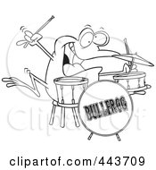 Royalty Free RF Clip Art Illustration Of A Cartoon Black And White Outline Design Of A Drummer Frog by toonaday
