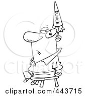 Royalty Free RF Clip Art Illustration Of A Cartoon Black And White Outline Design Of A Man Wearing A Dunce Hat
