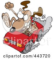 Cartoon Driving Dog With Road Rage