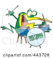 Royalty Free RF Clip Art Illustration Of A Cartoon Drummer Frog by toonaday