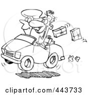 Royalty Free RF Clip Art Illustration Of A Cartoon Black And White Outline Design Of A Couple In A Car Dropping Packages by toonaday