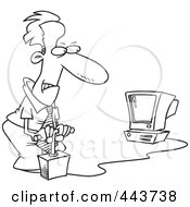 Royalty Free RF Clip Art Illustration Of A Cartoon Black And White Outline Design Of A Businessman Blowing Up His Computer With Dynamite by toonaday