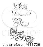 Royalty Free RF Clip Art Illustration Of A Cartoon Black And White Outline Design Of A Pile Of Snow Falling On A Man