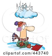 Royalty Free RF Clip Art Illustration Of A Cartoon Pile Of Snow Falling On A Man